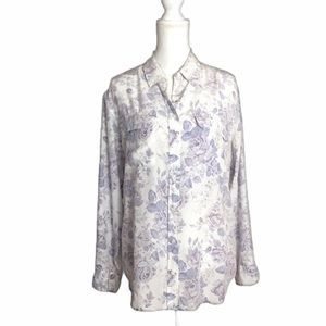 Equipment Soft Lavender Rose Print Silk Blouse